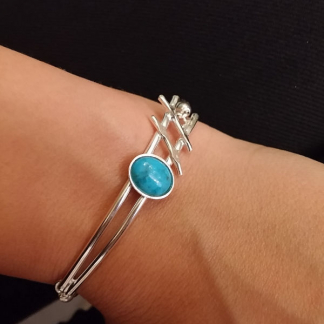 Bracelet turquoise sertie sur argent - Hashtag