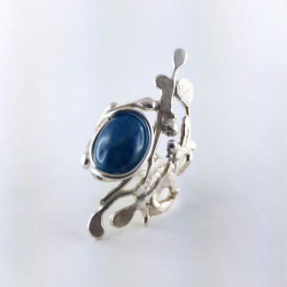bague créateur argent et apatite bleue - Ellaria