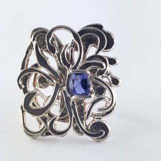 bague Iolite bleue argent - Floralis