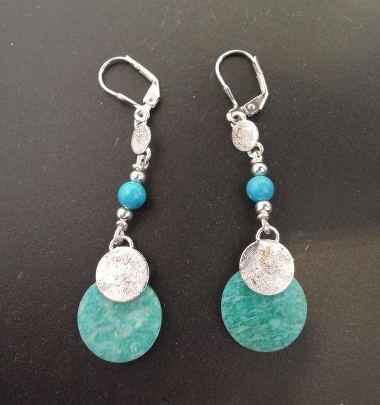 Boucles d'oreilles Cléopâtre - Amazonite, turquoise et argent