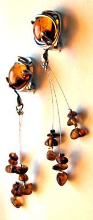 Boucles d'oreilles Soliane - Ambre et argent