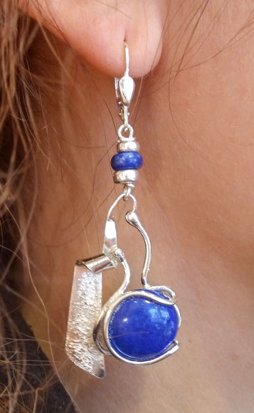 Boucles d'oreilles Wildina - Lapis-lazuli sur argent