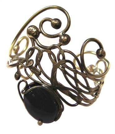 Bracelet Lola - agate noire et laiton