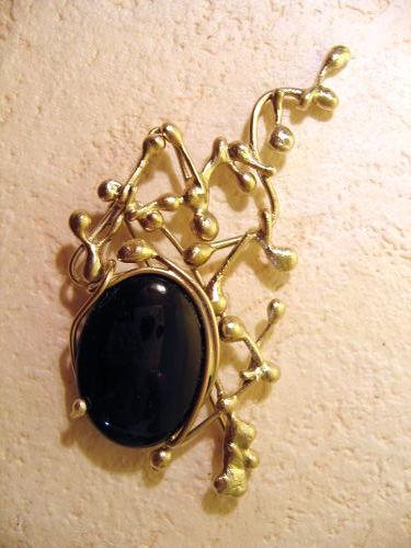 Broche Lou - agate noire et argent