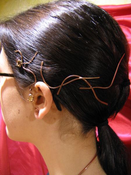 Tour d'oreille coiffe Charlotte - citrine et laiton