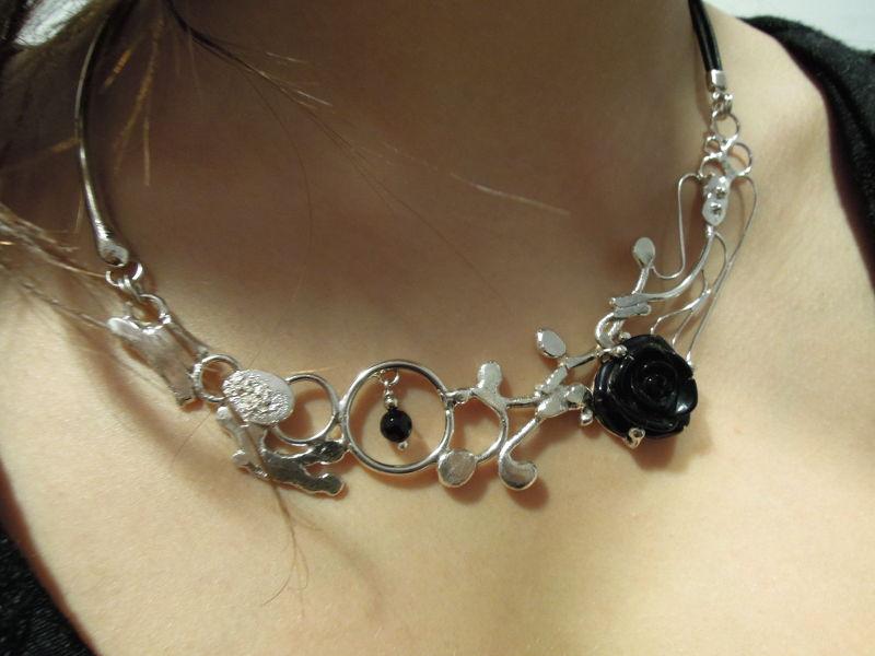 Collier Hestia - Agate noire sur argent -nathalie iuso création