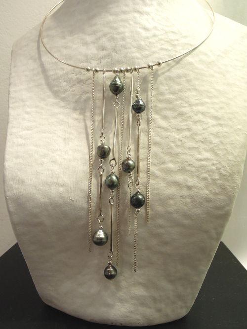 Collier Kahuni - Perle de Tahiti sur argent