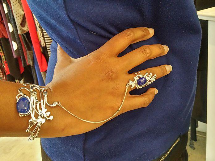 Duo bracelet et bague Stefany - Lapis-lazuli - argent - nathalie iuso création