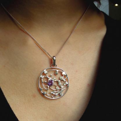 pendentif améthyste facettée sur argent 5x5mm - Melina