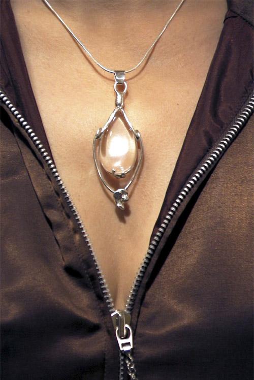 Pendentif Sibylle - Cristal de roche sur argent