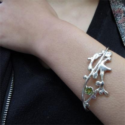 Bracelet péridot serti sur argent 925/1000- Nagade