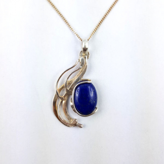 Pendentif lapis lazuli Ériu serti sur argent massif