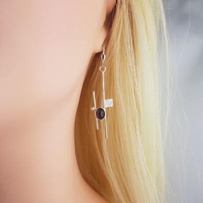 boucles d'oreilles Mondrian grenat argent