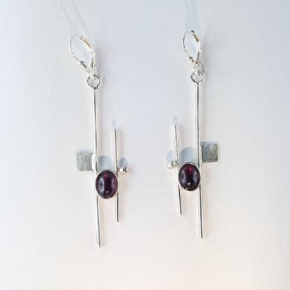Boucles d'oreilles grenat créateur - Collection Mondrian - sur argent