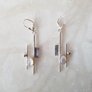 Boucles d'oreille nacre blanche et argent - collection Mondrian