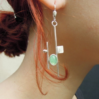 Boucles d'oreilles Mondrian - Aventurine et argent