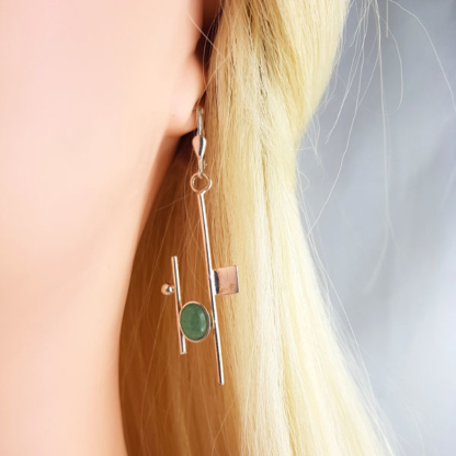 Boucles d'oreilles créateur - Aventurine et argent 925