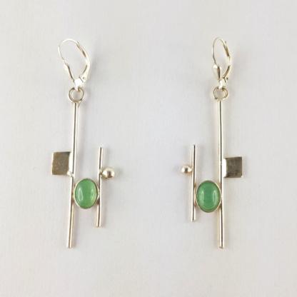 Paire de boucles d'oreilles Mondrian - Aventurine et argent