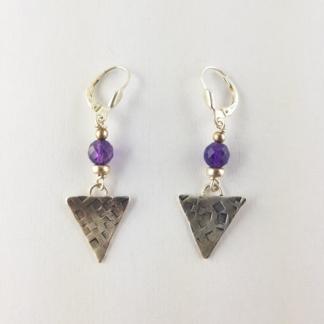 boucles d'oreilles triangle argent et amethyste